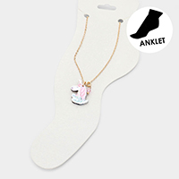 Watercolor Wood Unicorn Anklet
