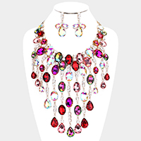 Oval Stone Accented Statement Evening Necklace