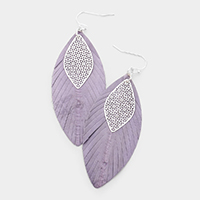 filigree leaf genuine leather Earrings