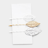 3PCS - Textured Metal Leaf Bobby Pins