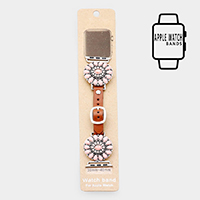 Natural Stone Detail Apple Watch Leather Strap Band
