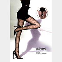 Jacquard Wavy Pattern Pantyhose Tights