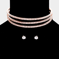 3Lines Rhinestone Pave Evening Choker Necklace