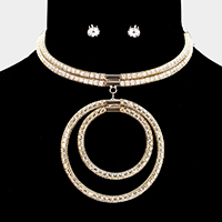 Double Circle Rhinestone Pave Evening Choker Necklace