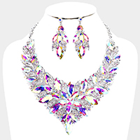 Floral Leaf Marquise Stone Evening Necklace