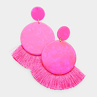 Double Circle Celluloid Acetate Fan Tassel Earrings
