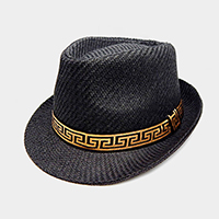 Greek Pattern Ribbon Detail Fedora