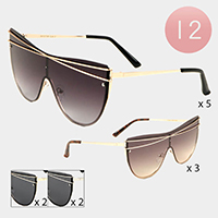 12PCS - Oversized Gold Cross Line Detail Aviator Sunglasses