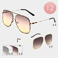 12PCS - Oversized Gold Frame Detail Aviator Sunglasses