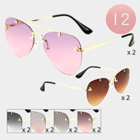 12PCS - Honey Bee Accented Aviator Sunglasses