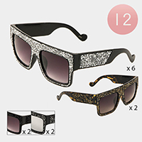 12PCS - Oversized Stone Cluster Aviator Sunglasses