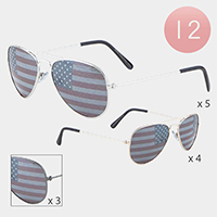12PCS - American Flag Lens Detail Aviator Sunglasses