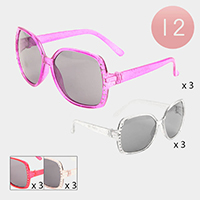 12PCS - Stone Embellished Square Frame Kids Sunglasses