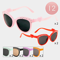 12PCS - Stone Embellished Heart Detail Kids Sunglasses