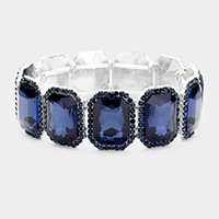 Rectangle Stone Rhinestone Stretch Evening Bracelet