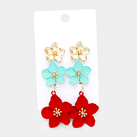 3Pairs - Bloom Flower Earrings
