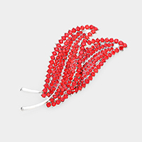 Rhinestone Pave Double Leaf brooch