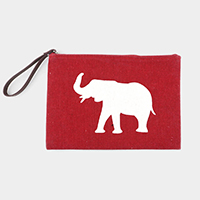 Elephant Print Pouch Bag