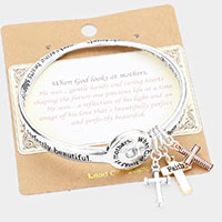 Religious Message Cross Charm Bangle Bracelet