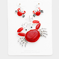 Enamel Metal Crab Magnetic Pendant Set