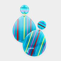 Celluloid Acetate Stripe Oval Dangle Earrings
