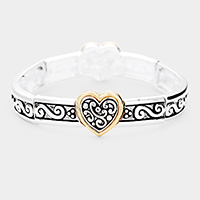 Metal Filigree Heart Stretch Bracelet