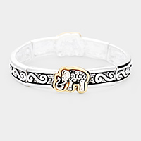 Elephant Metal Filigree Stretch Bracelet