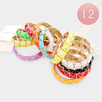 12PCS - Pyramid Stud Stretch Bracelets