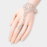Crystal Accented Pave Hand Chain Bracelet