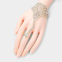Crystal Accented Pave Net Hand Chain Bracelet