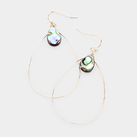 Open Oval Abalone Teardrop Stone Earrings