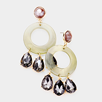 Celluloid Acetate Triple Disk Drop Earrings