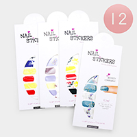 12 Sheets - Mixed Pattern Artificial Nail Stickers