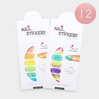12 Sheets - Mixed Colorful Artificial Nail Stickers