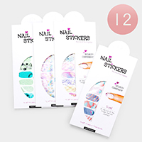 12 Sheets - Mixed Pattern Colorful Artificial Nail Stickers