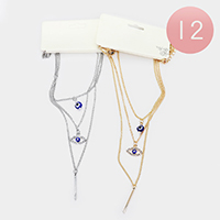 12PCS - Evil Eye Layered Chain Necklace