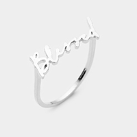 'Blessed' Brass Metal Ring