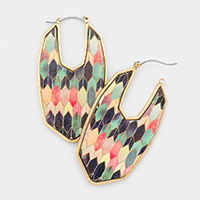 Patterned Texture Printed Wood Dangle Pin Catch Earrings