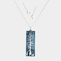Life of Tree Cut Out Rectangle Pendant Necklace