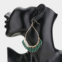 Oversized Open Teardrop Beaded Dangle Earrings