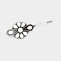 Enamel Tribal Squash Blossom Hair Bobby Pin