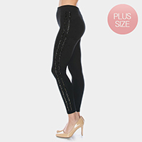 Comfy Stone Embellished Lines Detail Leggings