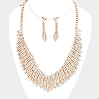 Crystal Rhinestone Pave Wings Necklace