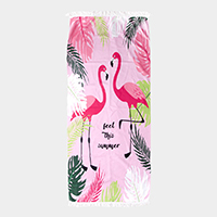 Flamingo Print Rectangle Beach Towel