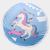 Unicorn Tassel Trim Round Beach Towel