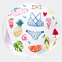 Fruits Bikini Flip Flop Tassel Trim Round Beach Towel