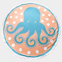 Octopus Tassel Trim Round Beach Towel
