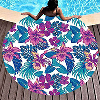 Floral Tropical Leaf Tassel Trim Round Beach Towel