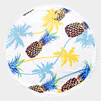 Pineapple Palm Tree Tassel Trim Round Beach Towel