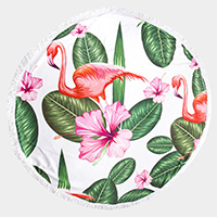 Flamingo Tropical Leaf Tassel Trim Round Beach Towel